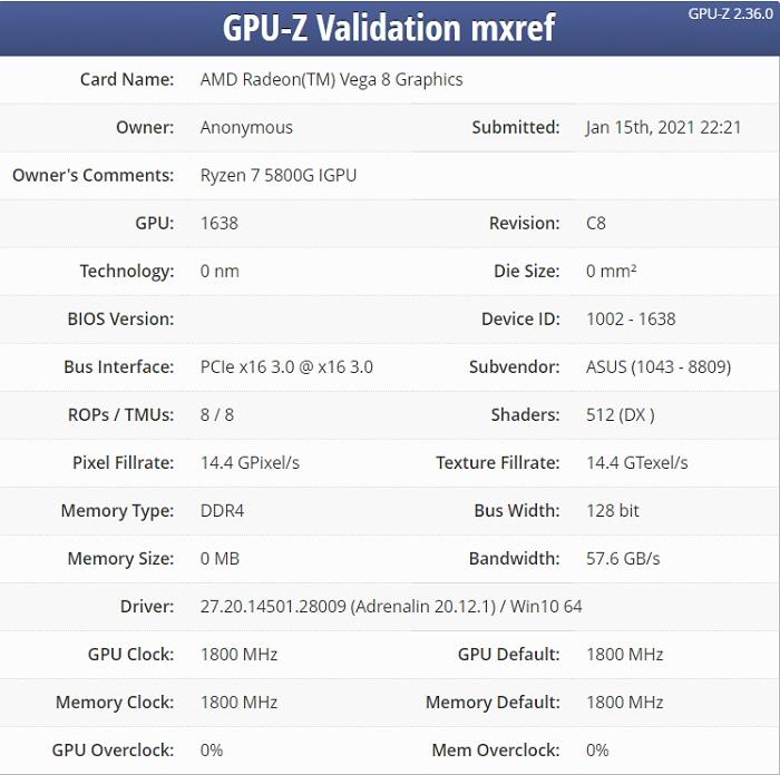 AMD锐龙 7-5800G APU曝光 CPU最高频率可达4.75GHz