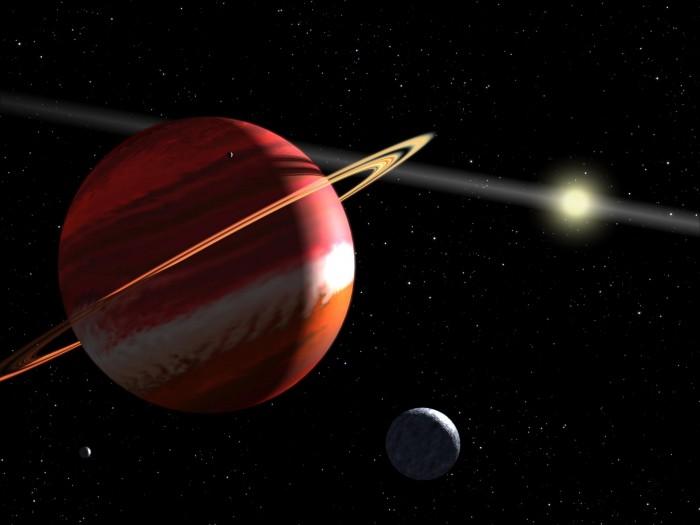 离太阳系最近的系外类木行星 艺术家绘制Epsilon Eridani星想象图