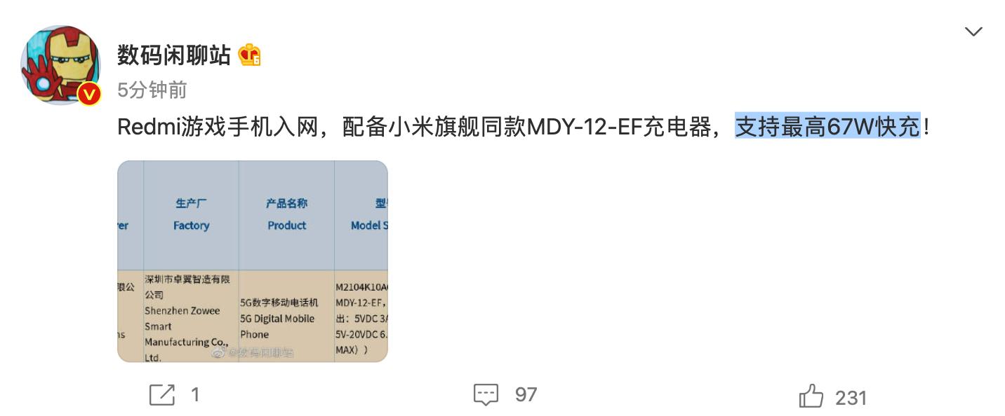 Redmi游戏手机将配备MDY-12-EF充电器 支持最高67W快充