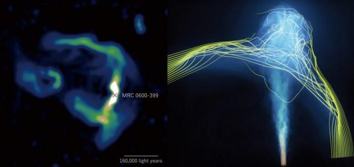 中心大质量黑洞发射的高能粒子喷流可绘制星系团间磁场的结构