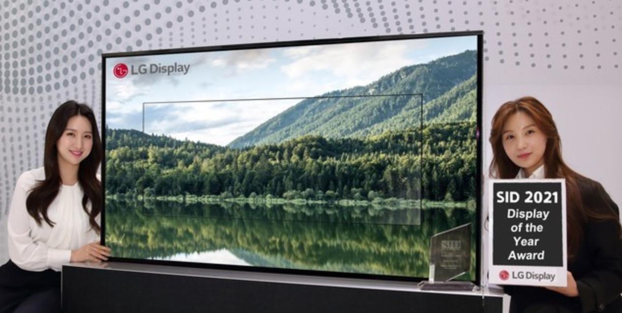 """屏幕纤薄如纸 LG可卷曲OLED电视获SID2021""""年度显示""""奖"""